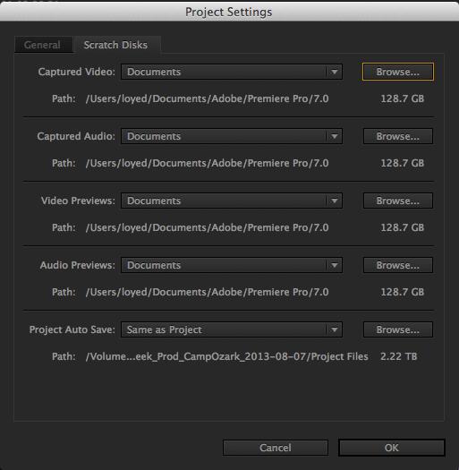 Adobe Premiere Pro CC Project Settings Scratch Disk