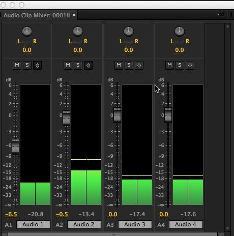 Adobe Premiere Pro CC audio clip mixer
