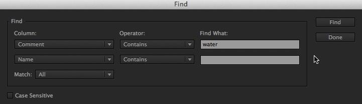 Adobe Premiere Pro CC Find