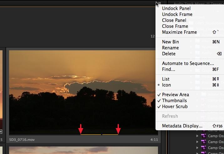 Adobe Premiere Pro CC Hover Scrub edit from bin