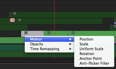 Adobe Premiere Pro CC clip keyframe buttons