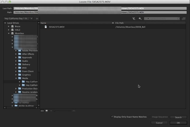 Adobe Premiere Pro CC Link and Locate