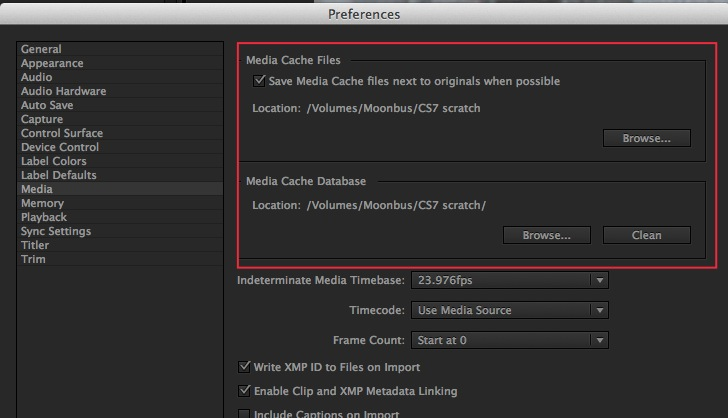 Adobe Premiere Pro CC Media Cache Preferences