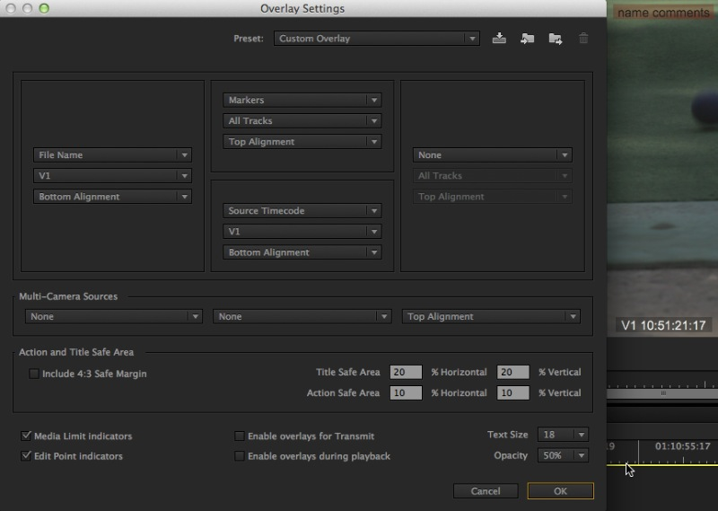 Adobe Premiere Pro Overlay Settings