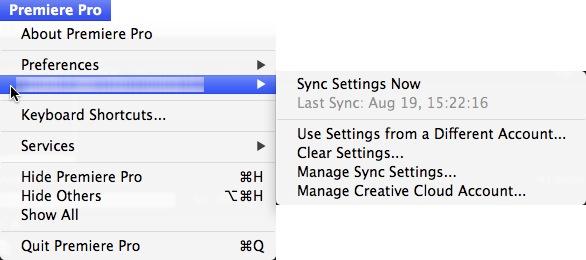 Adobe Premiere Pro CC sync settings