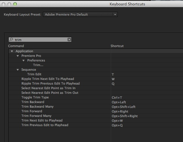 Adobe Premiere Pro CC trimming preferences keyboard