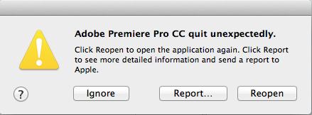 Adobe Premiere Pro CC quit unexpectedly