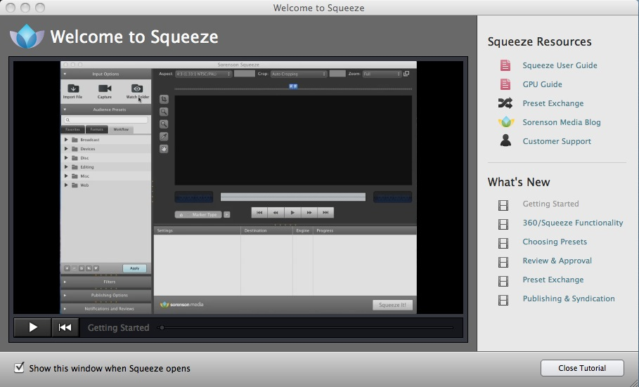Sorenson Squeeze 9 updates the old encoding standby 23