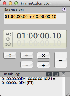 Timecode calculators in the Mac App store, free but not great 13