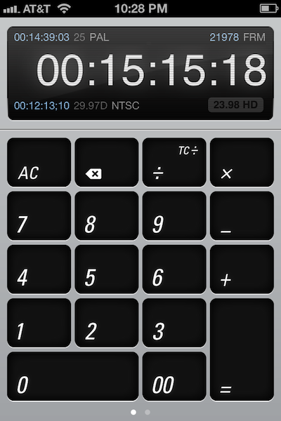 An elegant iPhone timecode calculator by Scott Simmons