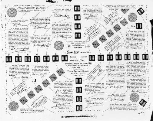"""Cooke Optics """"Test Sheet"""" document from the Cooke Archive"""