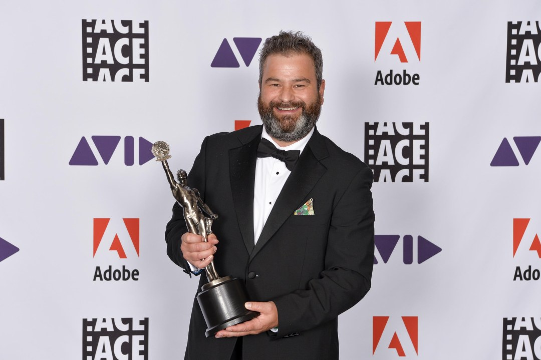 Dan Crinnion, ACE editor of Killing Eve with his ACE Eddie for the series