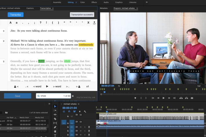 The Transcriptive Suite: video production workflow using AI, for Premiere Pro