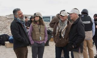 Left to right: Director Glenn Ficarra, Tina Fey, Producer Ian Bryce and Department of Defense Director of Entertainment Media Phil Strub on the set of Whiskey Tango Foxtrot from Paramount Pictures and Broadway Video/Little Stranger Productions in theatres March 4, 2016.