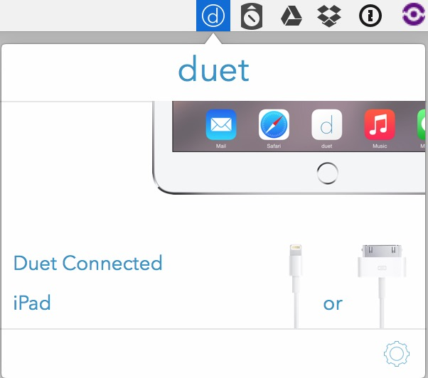 When connection Duet Display shows up in the Mac's menu bar. Performance is very good and the monitor can be rearranged in the Displays System Preference just like any other monitor.