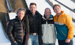 (from left): Director Dexter Fletcher, Hugh Jackman, Eddie Edwards and Taron Egerton on the set of EDDIE THE EAGLE.