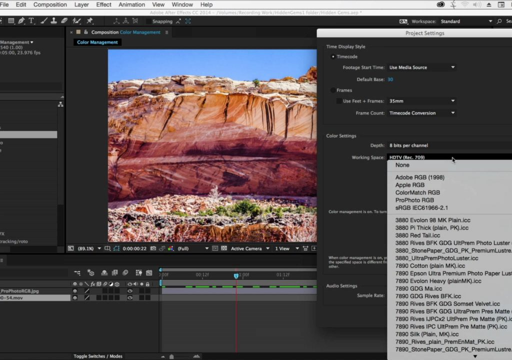 After Effects Hidden Gems: Color Working Space 1