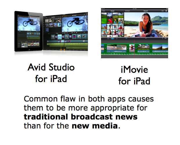 Flaw in Avid Studio & iMovie for iPad makes them more appropriate for broadcast news... 1