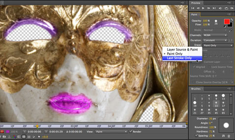 After Effects Apprentice Free Video: Eraser Tool Modes 1