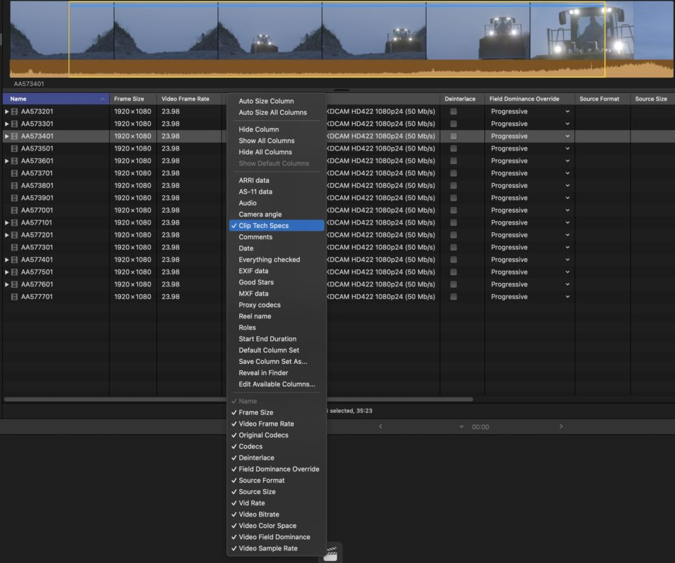 Final Cut Pro updated to 10.5.3 and you can download my free column view presets 1