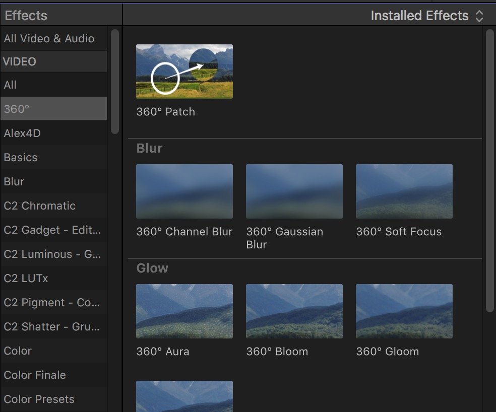 FCPX 10.4 360 effects