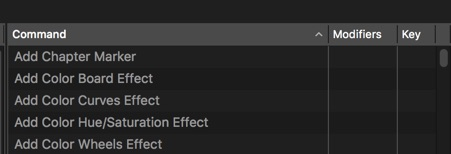 FCPX add color effects keyboard shortcuts