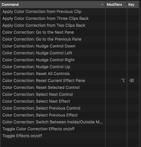color correction keyboard shortcuts