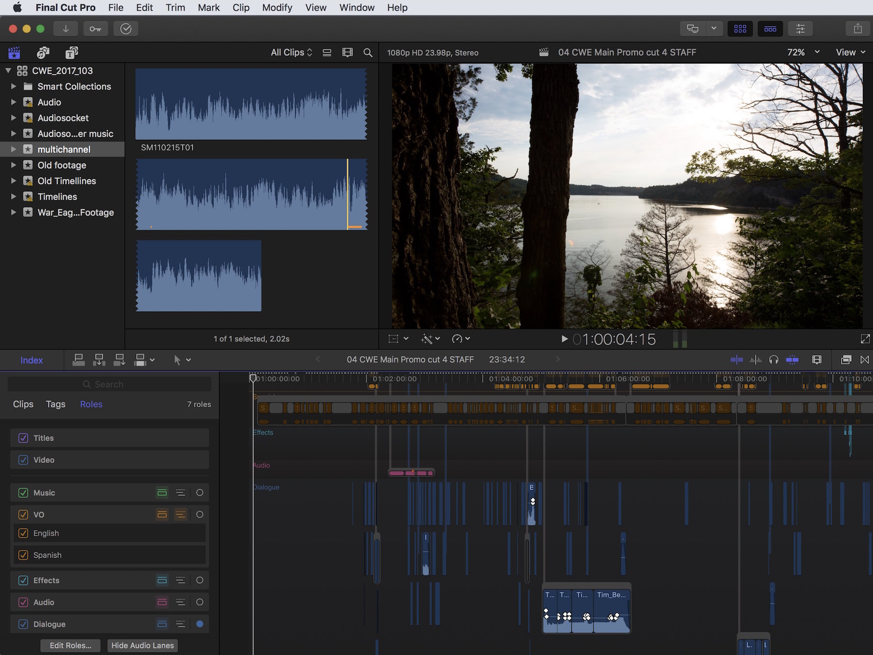 The first thing you'll notice in Final Cut Pro X 10.3? The new interface. The first thing you'll study? The new implementation of Audio Roles and new feature in Audio Lanes.