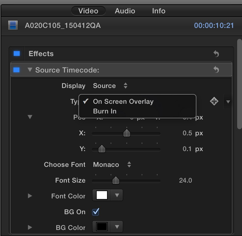 fcpx coremelt source tc popup
