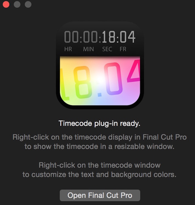 A floating timecode window comes to FCPX 5