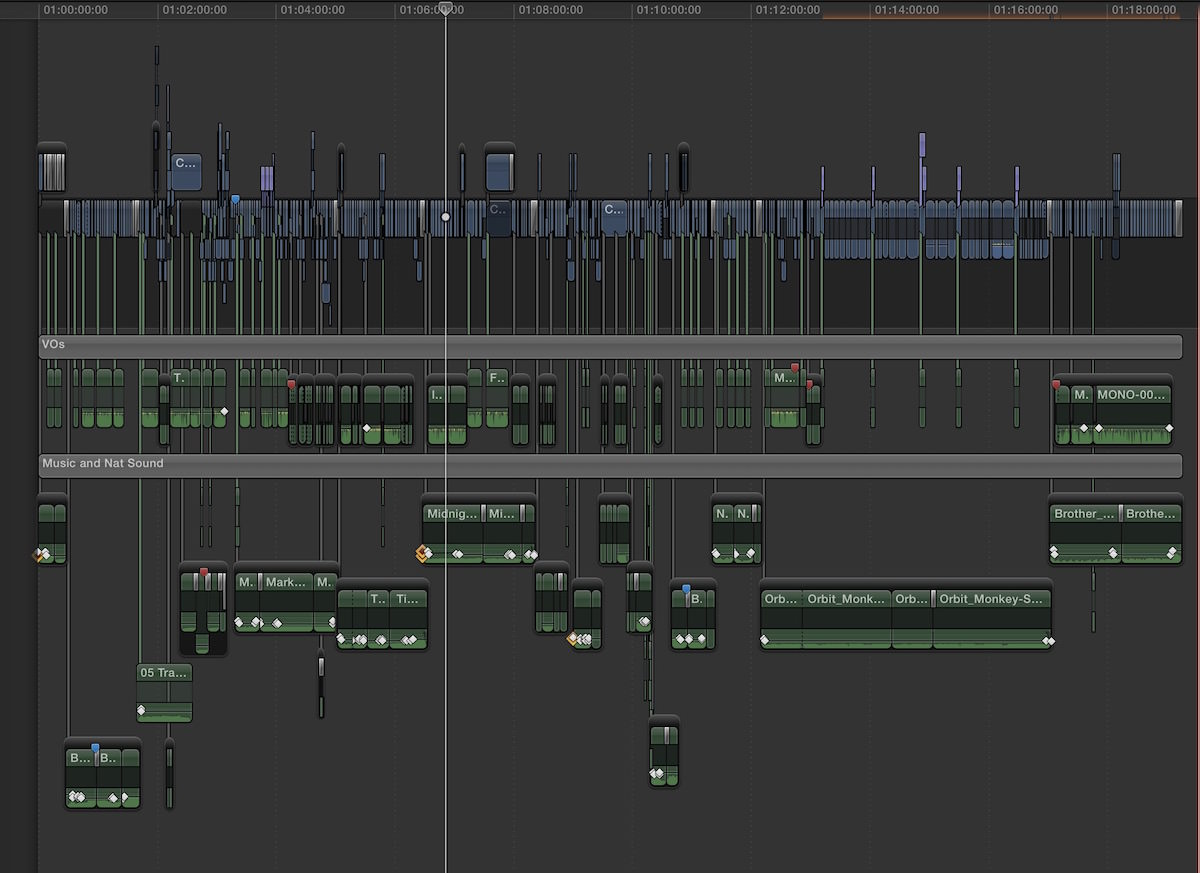 """Faking tracks or """"audio regions"""" was one way to manage audio in FCPX but that technique required a lot of dragging around of connected clips. It wasn't a pretty way to work."""