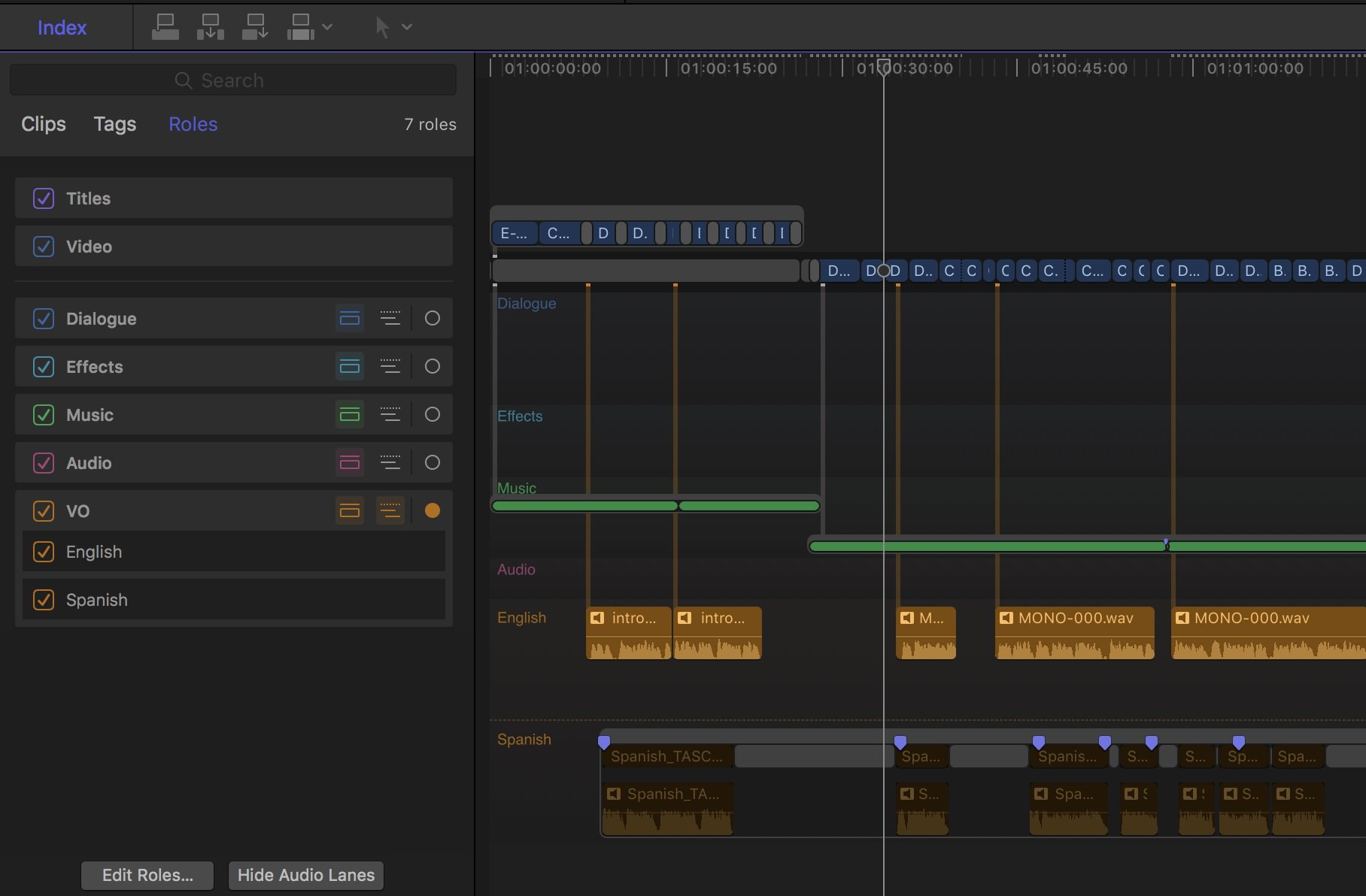 On the left you can see the Audio Roles I've assigned in this project. The VO role has two subroles, English and Spanish. On the right you can see those lanes turned on in the timeline.