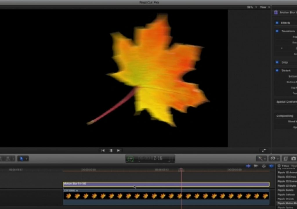 Motion blur in Final Cut Pro X - via Motion 1