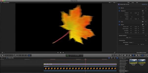 Motion blur in Final Cut Pro X - via Motion 7