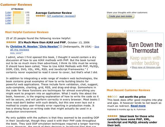 Amazon customer reviews and star ratings