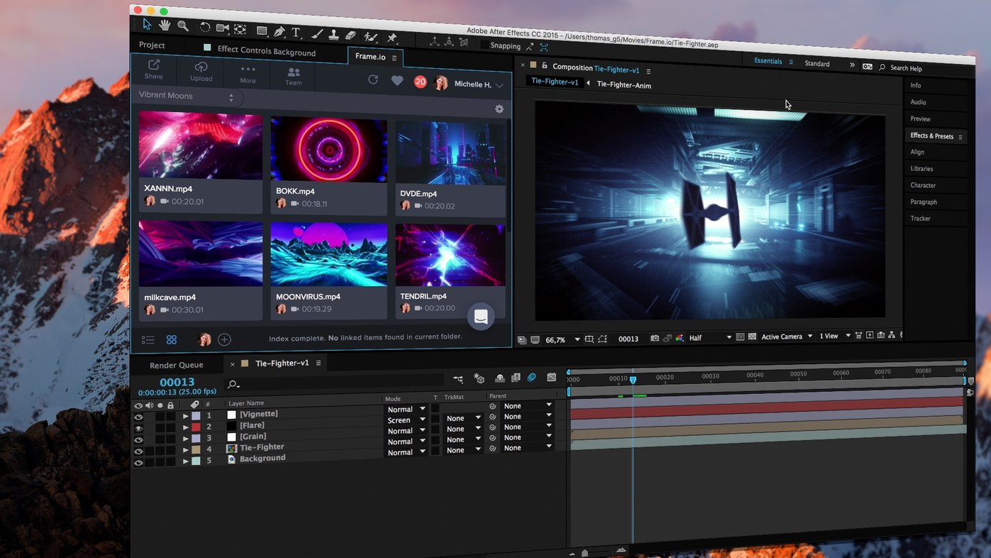 The panel opens up as an extension inside the After Effects interface.