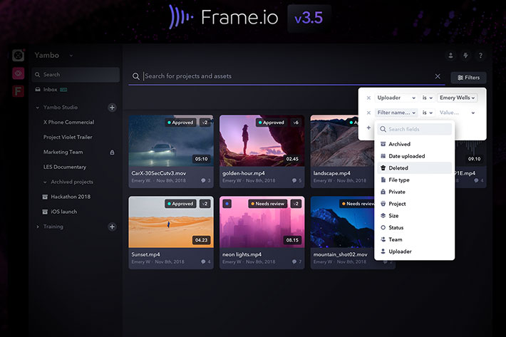 Frame.io v3.5: new features include secure sharing and media search