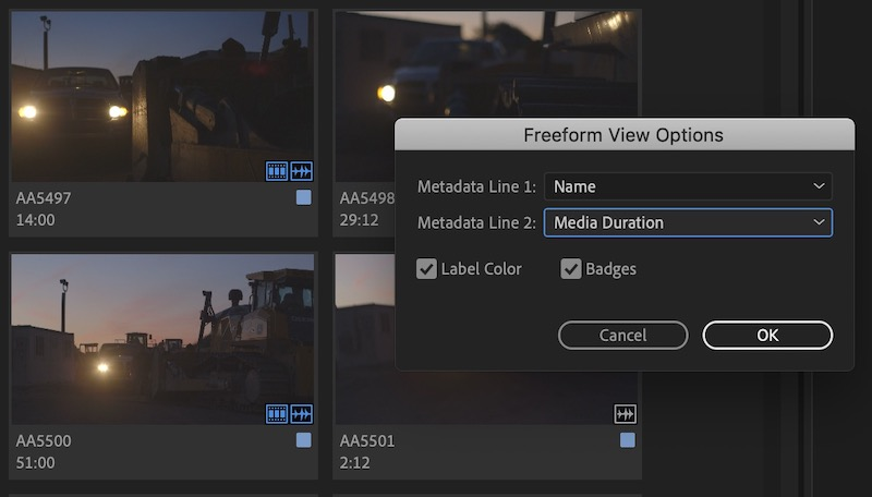 Adobe Premiere Pro Freeform Options