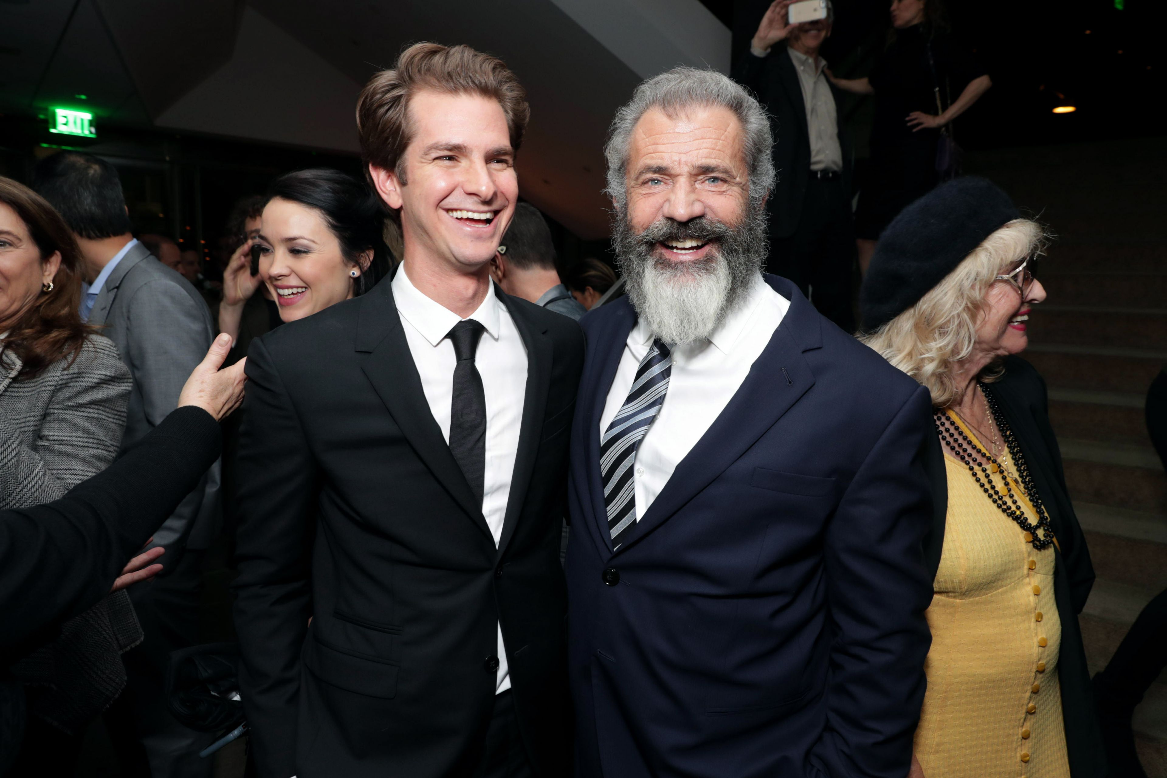 """Andrew Garfield and Director Mel Gibson seen at Summit Entertainment, a Lionsgate Company, Los Angeles Special Screening of """"Hacksaw Ridge"""" after party at The Academy's Samuel Goldwyn Theater on Monday, Oct. 24, 2016, in Beverly Hills, Calif. (Photo by Eric Charbonneau/Invision for Lionsgate/AP Images)"""