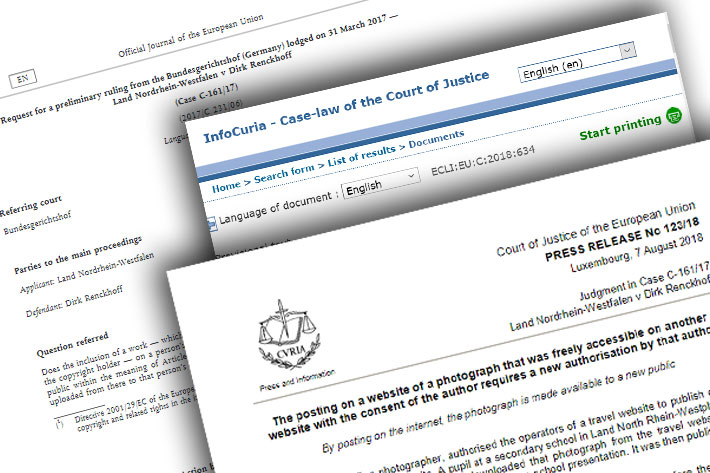EU court rules reuse of online images needs author's authorisation