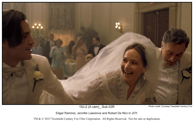 Edgar Ramirez, Jennifer Lawrence and Robert De Niro in JOY.