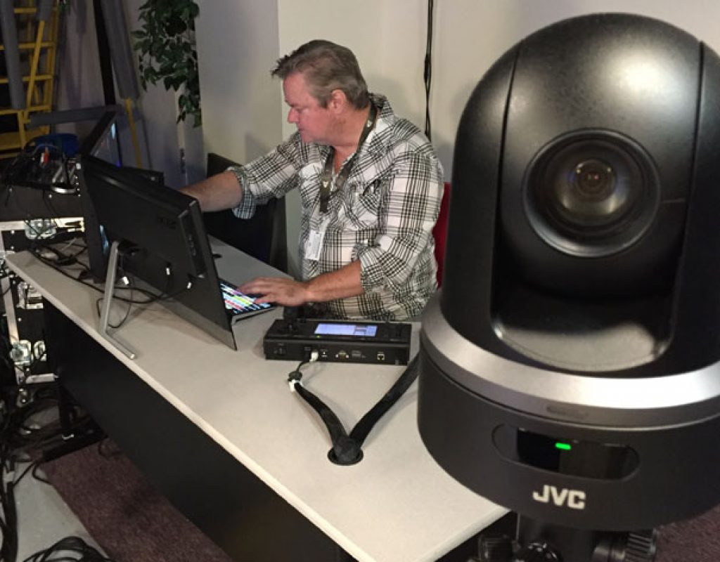 Podcast studio uses JVC KY-PZ100 robotic PTZ video production cameras 1