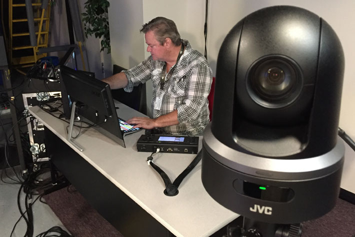 Podcast studio uses JVC KY-PZ100 robotic PTZ video production cameras 2