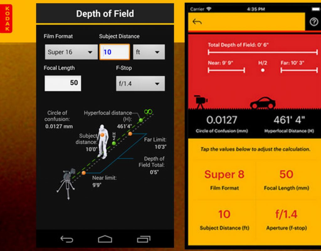 Kodak Cinema Tools, a film calculator for smartphones