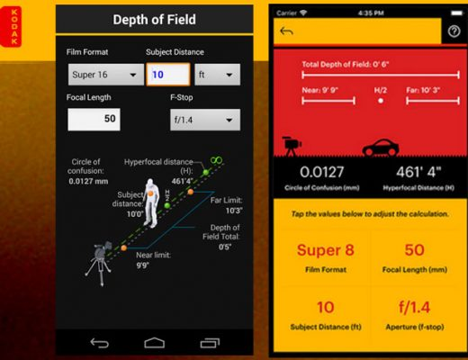 Kodak Cinema Tools, a film calculator for smartphones