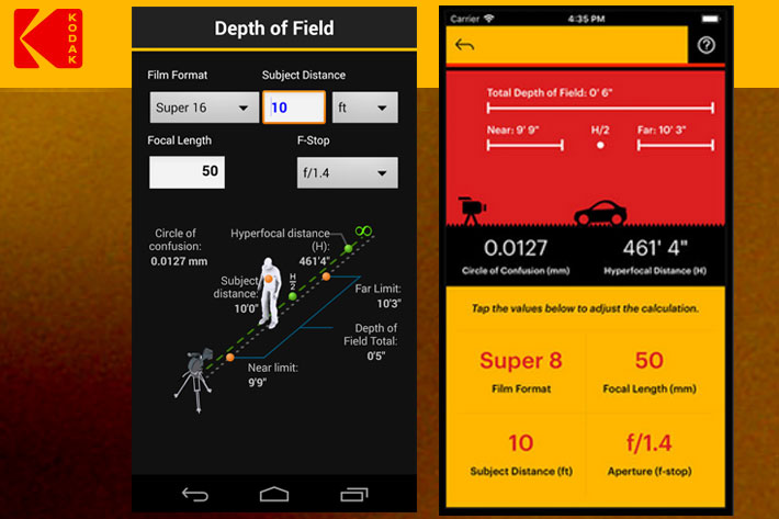 Kodak Cinema Tools, a film calculator for Android and iOS smartphones