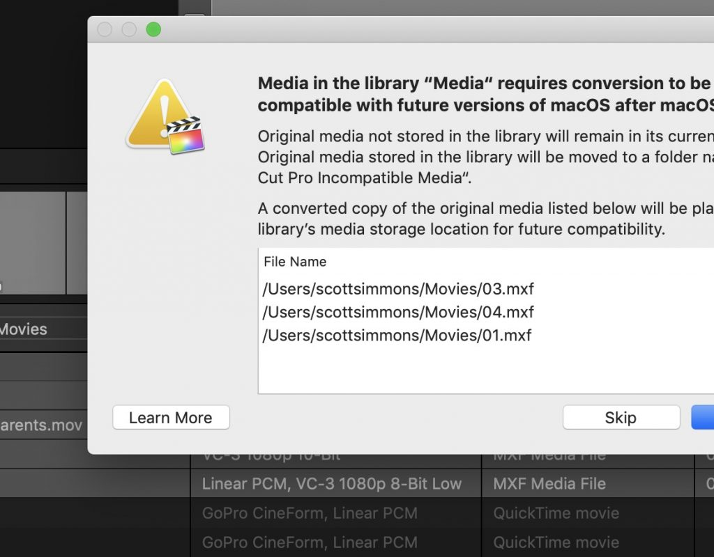Final Cut Pro X updated to 10.4.6 to deal with Legacy Media 11