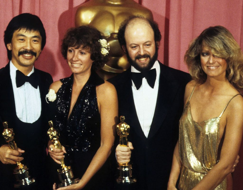 "Richard Chew and his fellow editors of ""Star Wars: A New Hope"" with their Oscars after winning the Academy Award for Best Film Editing"