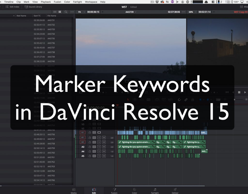 Marker Keywords in DaVinci Resolve 15 1