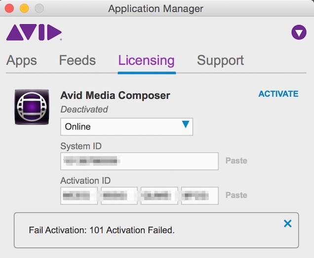 Avid Media Composer activation failed